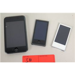 3 Apple iPods (1 is 16GB Model A1213, 2 are Model A1446)