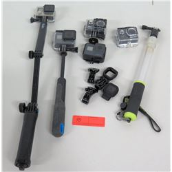 5 Action Cameras w/ Extension Arms: Go Pro, Hero, Funshore, etc