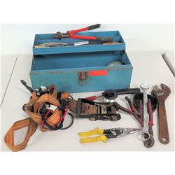 Tool Box w/ Misc Hand Tools, Rachet & Tie Down Strap