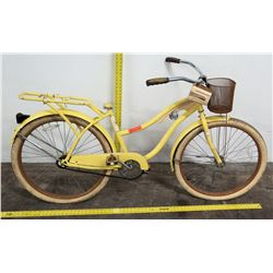 "Huffy 26"" Nel Lusso Ladies Cruiser Bike w/ Basket & Rack, Yellow, No Seat"