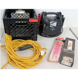 Instant Power Jump Starter, Extension Cord, Welding Sticks & Plastic Milk Carton