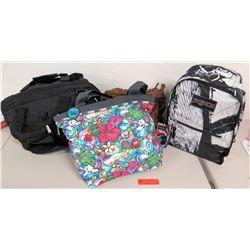 Jansport Backpack, LeSportsac Floral Tote Bag, Jeep Overnighter Bag, Brown Tote