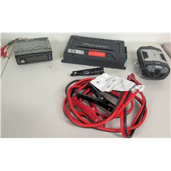 Clarion Car Stereo Deck, Pioneer 900W Power Amp, Power Inverter & Jumper Cables