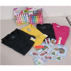 Qty 4 T-shirts (Blank), Iron-On Designs & Neon Fabric Paint