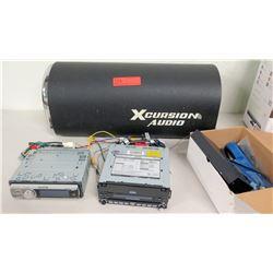 Qty 2 Car Stereo Decks - Premier & Jensen w/ Xcursion Audio Subwoofer