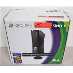 X-Box 360 Kinect Game Console, 4 GB Memory, Sensor, Controller in Box