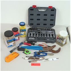Socket Set in Hard Case, Misc. Tools, Wing Nuts, etc