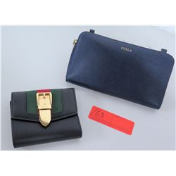 Gucci Black Leather Tri-Fold Wallet & Furla Zippered Wallet