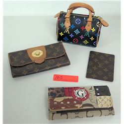 Qty 3 Monogram Wallets & 1 Mini Bag (Authenticity Unknown)