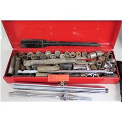 Red Metal Toolbox w/ Heavy Duty Socket Set, Drivers, etc.