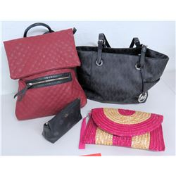 Qty 4 Bags/Purses: Michael Kors, Kate Spade, Pink Quilted Bag & Wicker Purse