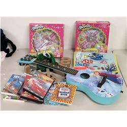"Blue ""Frozen"" 6-String Ukulele, 2 Shopkins Games, Misc DVDs & Books"