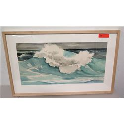 Framed Original Watercolor by J. Scheverria, Ocean Wave, Signed by Artist
