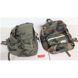 Qty 2 Mini Backpacks - Green & Herschel Green Camo