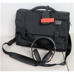 Black Tech Canvas Laptop Bag & Cordless Headphones