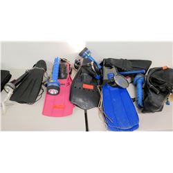 Scuba/Snorkel Gear: Fins, Mask, Snorkel, Flashlights