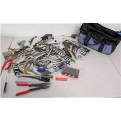 Misc. Wire Cutters, Sockets, Drivers, Channel Locks, Canvas Tool Bag, etc.