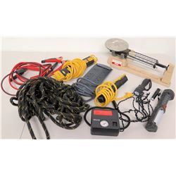 Tire Inflater, Power Strips, Flashlights, Cords, Ropes, Scale, etc.