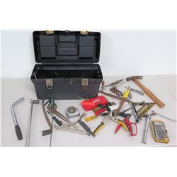 Plastic Tool Box w/ Tape Measure, Vice Grips, Hammers, Pry Bar, etc.