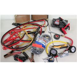 Jumper Cables, Tire Gauges, Voltage Circuit Testers, Box Cutters, etc.