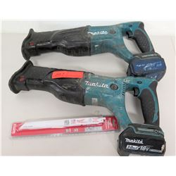 Qty 2 Makita 18V Sawzall Reciprocating Saws w/ Blades