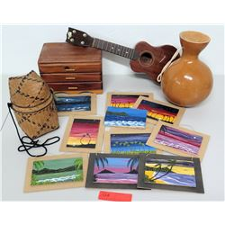 4 String Ukulele, Wooden Box, Ipo, Misc Mini Hawaiian Art