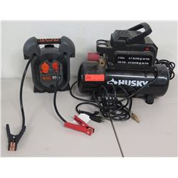 Husky 2 Gal 100 PSI Air Compressor & Black & Decker Jump Starter