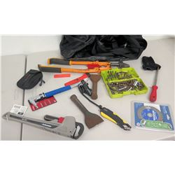 Bolt Cutter, Chisels, Pipe Wrench, Misc. Hand Tools, Tool Bag, etc
