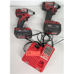 Qty 2 Milwaukee M18 Impact Drivers & Charger