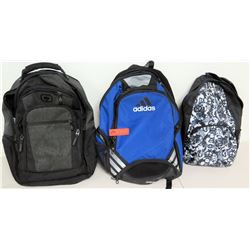 Qty 3 Backpacks - Blue Adidas, Black OGIO, Black & White Peace Sign