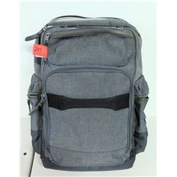 Canvas Backpack w/ Outside Pockets, Gray Black