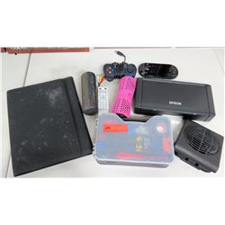 Epson Mini Portable Printer, Pill Speaker, Game Controller, Box Wire Connectors, etc.