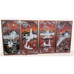 4-Panel Oriental Asian Panels w/ Inlaid Mother of Pearl Details