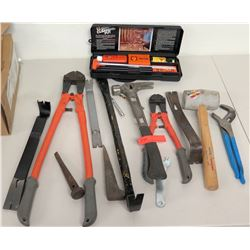 Pry Bars, Bolt Cutters, Hammers, Misc Tools, Gun Cleaning Kit, etc