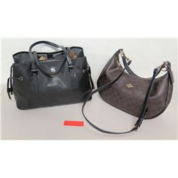 Qty 2 Coach Handbags - Signature Monogram Design & Black Leather