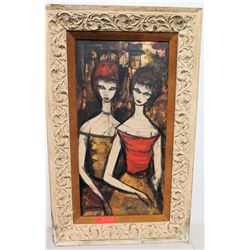 Framed Original Painting - Charles Levier, Two Ladies, Artist-Signed, Damaged Frame