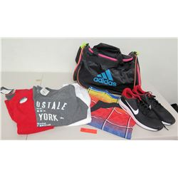 New Nike Shoes, T-Shirts, Black Adidas Bag, etc