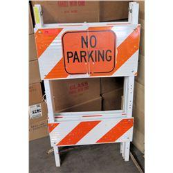 White/Orange Wooden 'No Parking' Sign