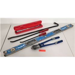 Bolt Cutters, Torque Wrench in Case, Crowbar, Level, 2 Pry Bars