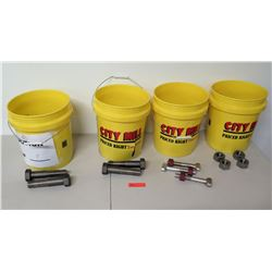 Qty 4 Yellow Buckets w/ Large Nuts & Bolts