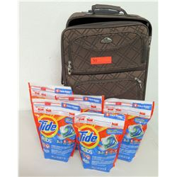 American Flyer Suitcase & 5 Packages Tide Pods Laundry Detergent