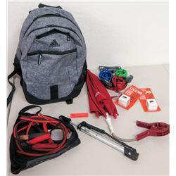 New Bike Locks, CLUG Bike Rack, Adidas Backpack, Jumper Cables, Pump, etc.