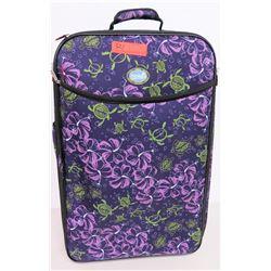 Suitcase on Wheels, Purple Tropical Floral/Honu Print