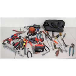 2 Black & Decker Drills, Misc. Hand Tools, Emergency Auto Light, Tool Bag, etc.