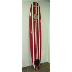 BBI Longboard Surfboard, 2 Fins (Right Fin Box Damaged), Red & White Stripes