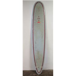 Hap Jacobs Longboard Surfboard, Single Fin, Light Blue & Red