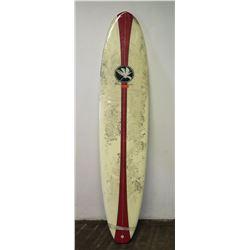 Island Classics Longboard Surfboard, 3-Fin, White/Red