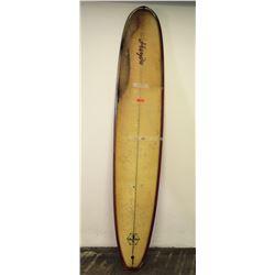 Handy Willow Blanks Longboard Surfboard, No Fin, Tan/Red