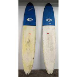 Qty 2 ST Longboard Surfboards, Single Fin, White & Blue