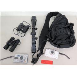 Qty 2 Binoculars, 2 Cameras, Scope - Nikon, Bushnell, Panasonic